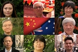 A collage of seven different Chinese-Australians with a Chinese and Australian flag in the middle.