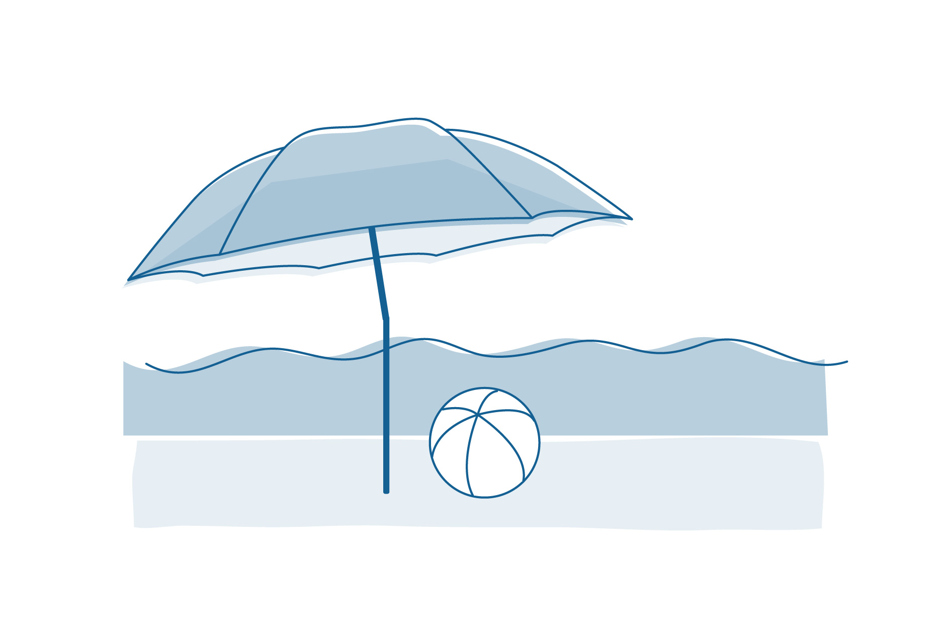 An illustration of a beach umbrella and beach ball in front of the ocean.