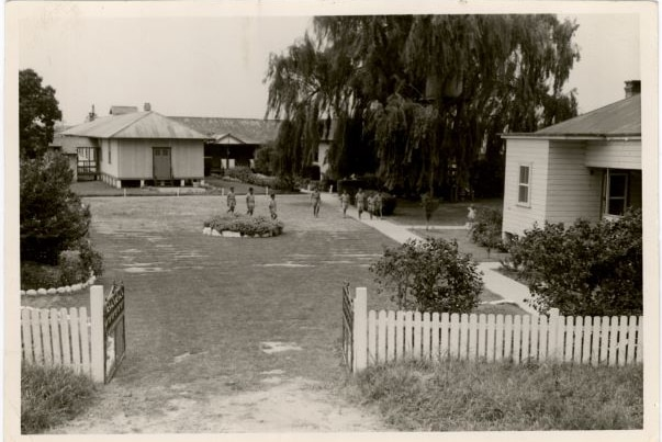 Black and white photo the Kinchela Boys Home from the early 1950s Kinchela Boys Home, front entrance, early 1950s
