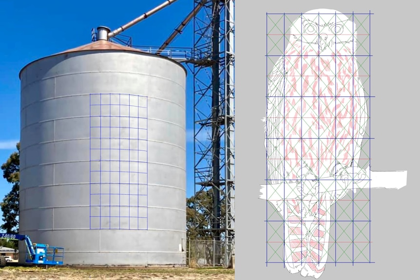 A composite image with a silo and grid on left and an owl drawing and grid on right