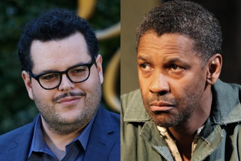 Left: Josh Gad on a red carpet. Right: Denzel Washington on the set of Fences