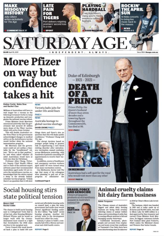 The front page of The Age newspaper the day after the death of Prince Philip.