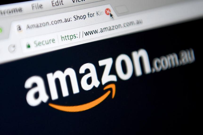 Amazon logo on computer monitor