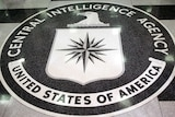 The CIA logo in a marble floor