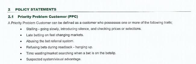 Bullet points describing the problem customer.