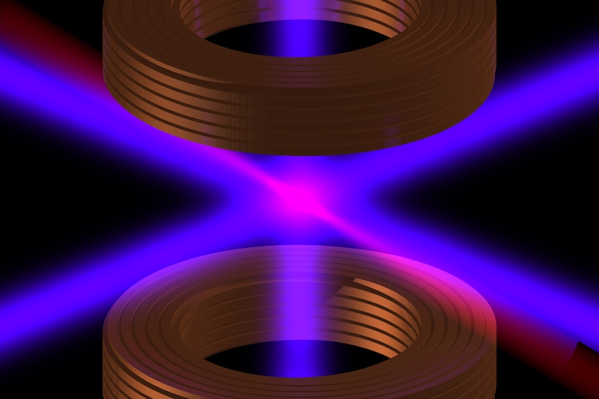 Two purple lasers intersect between two brown rings