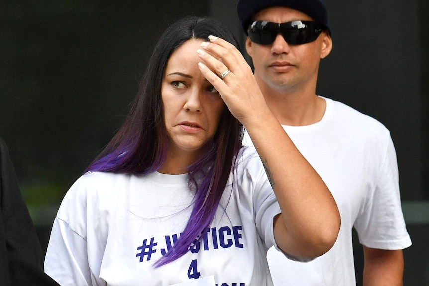 Cindy Palmer, the biological mother of murdered 12-year-old schoolgirl Tiahleigh Palmer arriving at court in Brisbane.