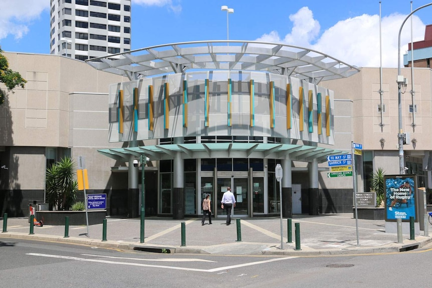 Front entrance of Roma Street Magistrates Court, next to Brisbane Watch House, in Brisbane's CBD.