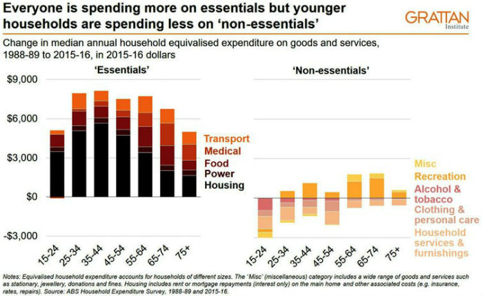 A graph showing expenditure on essentials and non-essentials.