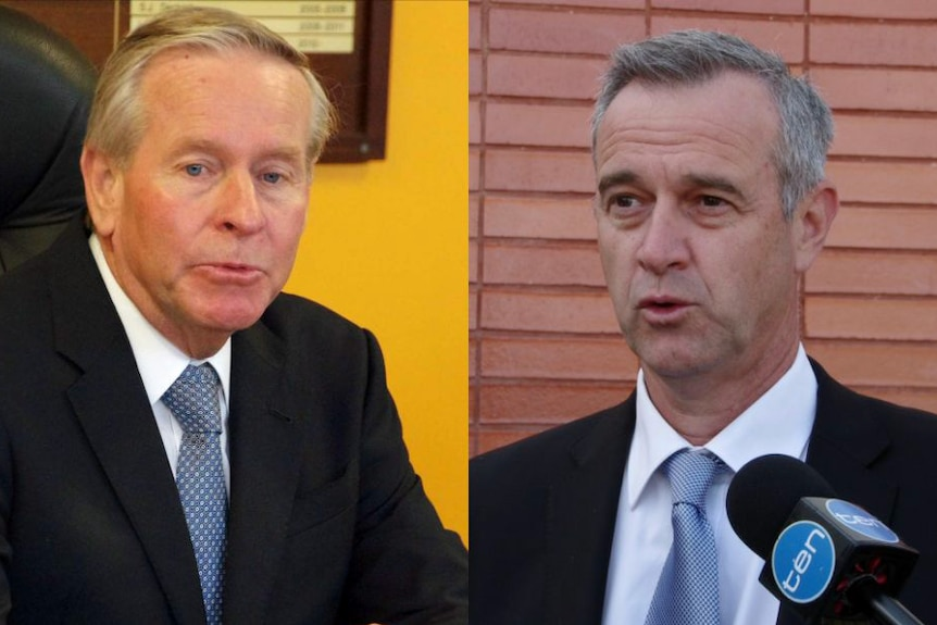 Colin Barnett (l) says he is sorry to see Mr Simpson (r) leave Cabinet.