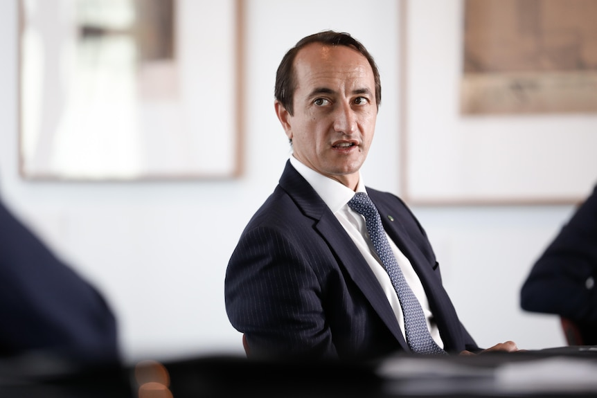 Dave Sharma sitting on a chair looking to his right mid-sentence wearing a suit and tie