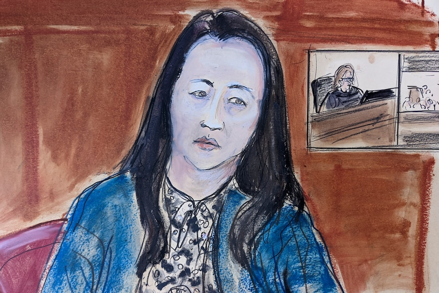 A court sketch of a seated Asian woman in blue jacket with black and white shirt.