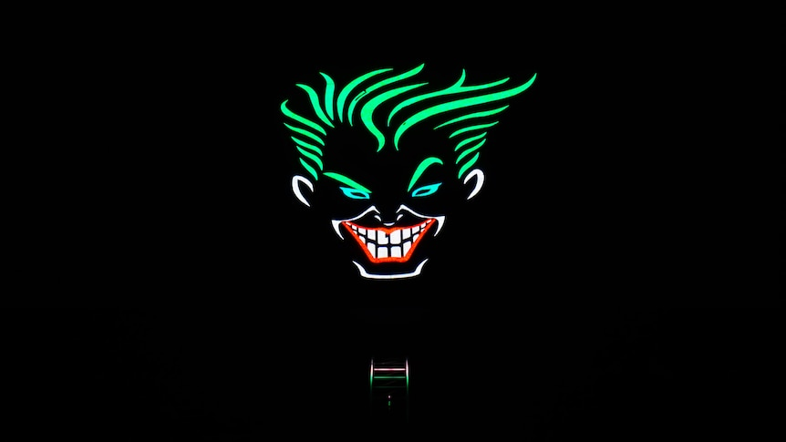 neon face at night