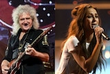 A composite image of Brian May playing guitar and Amy Shark singing