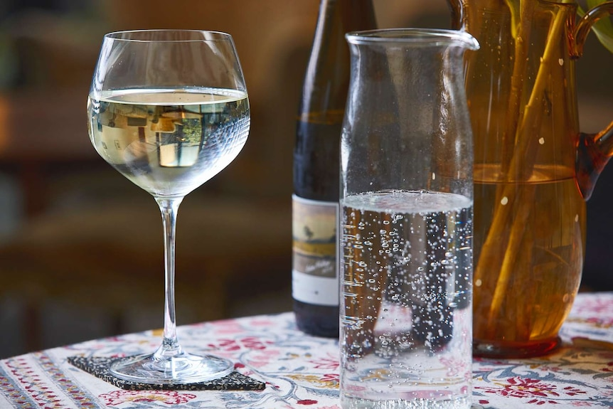 Riesling spritz on a table to depict a collection of low-alcohol cocktail recipes.