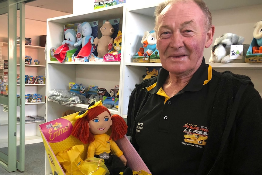 Mal Geary at  his toy shop.