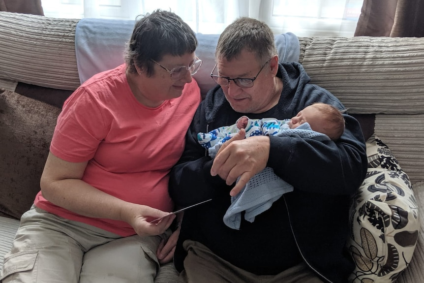 Joanne Cowan and her deceased husband John meet their grandson for the first time.