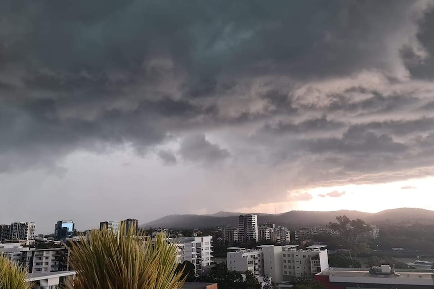 Dark storm clouds roll over Mount Coot-tha in Brisbane on March 2, 2021