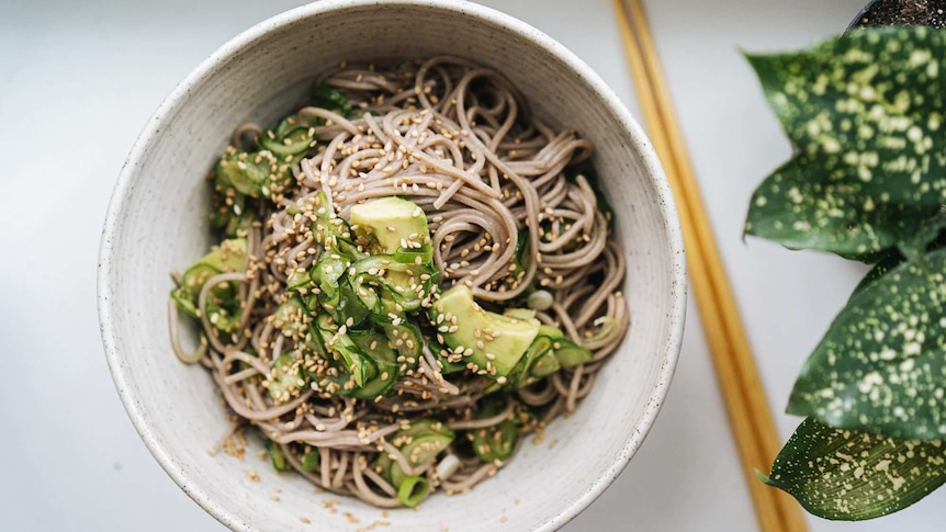 A bowl of chilled soba noodles with marinated cucumbers, avocado, sesame seeds, a fast vegetarian dinner recipe for summer.