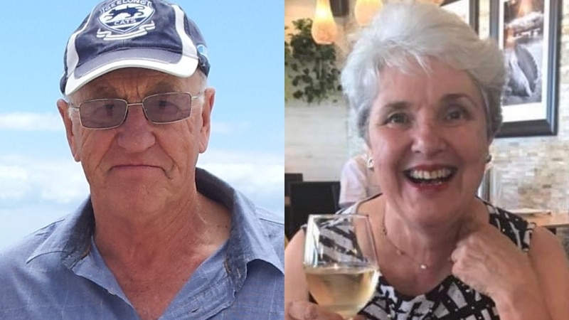 A composite image of a man outside and a woman holding a glass of wine at a restaurant