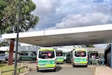 Six ambulances ramped outside a WA hospital