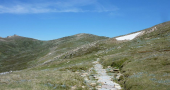 Walking trail winds up towards Mt Kosciuszko on a sunny day.