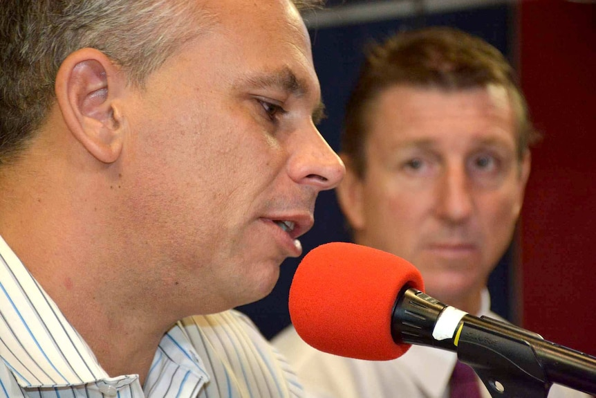 Adam Giles and Willem Westra van Holthe, on Darwin ABC radio, a day after Mr Westra challenged Mr Giles for his job