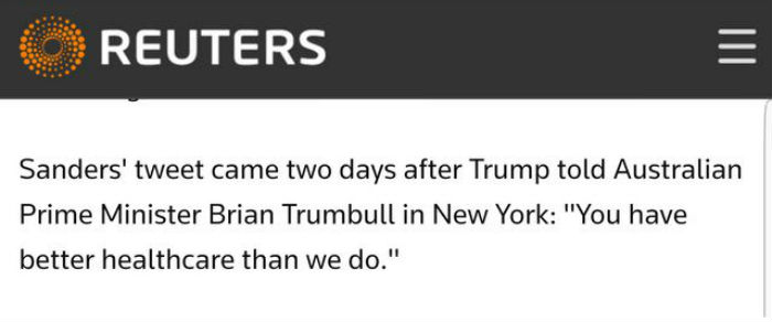 """A screenshot of a Reuters news article that says """"Australian Prime Minister Brian Trumbull""""."""