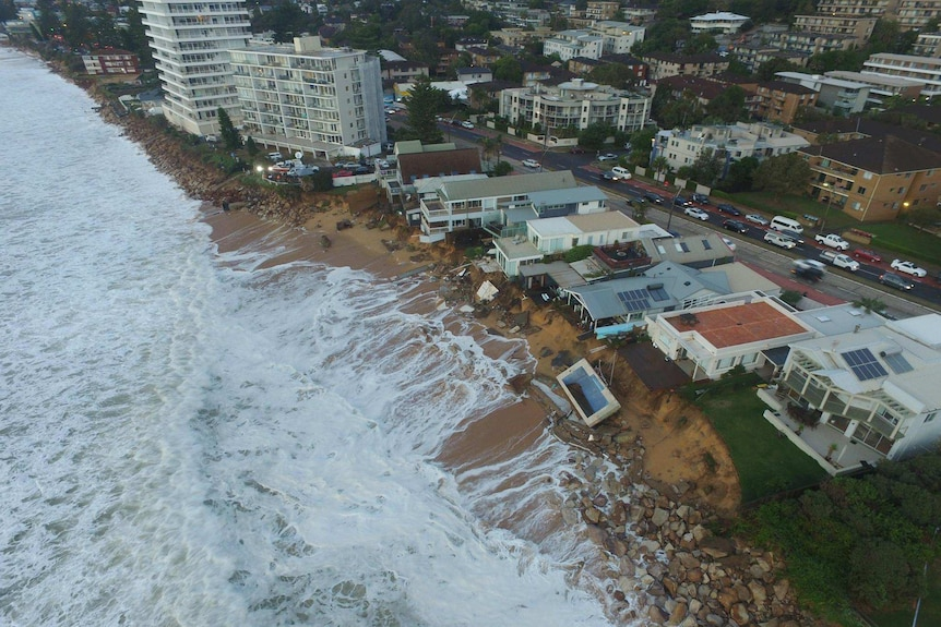 Arial view of the destruction along Collaroy