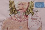 Embroidered artwork of a girl smoking a cigarette, there are strangulation marks around her neck.