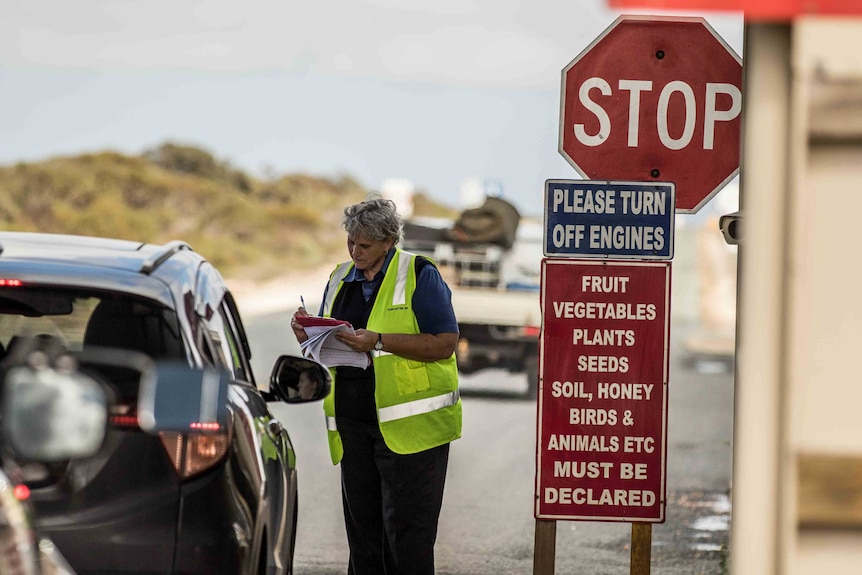 A woman wearing high-vis clothing at a road block.