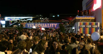 Supporters of same-sex marriage celebrate at a Lonsdale Street party.