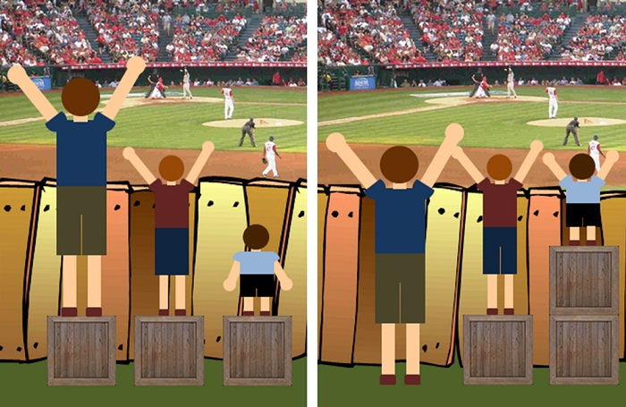 A picture of three cartoon boys of different heights watching a cricket match. Boxes help the shorter boys view the match.