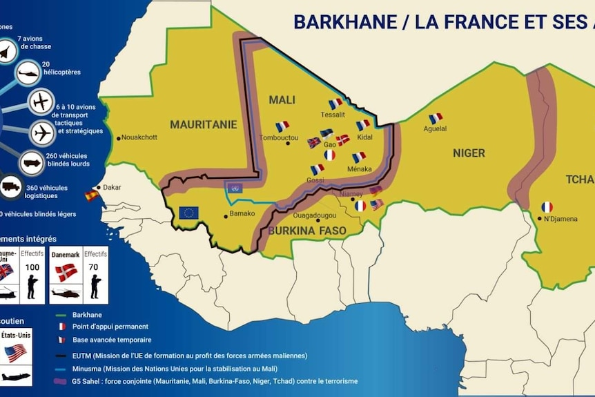 Graphic of West Africa that shows were France and its allies are involved in an ongoing anti-insurgent operation.