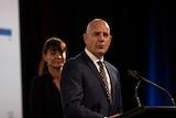 Premier Peter Gutwein giving a speech on election night.
