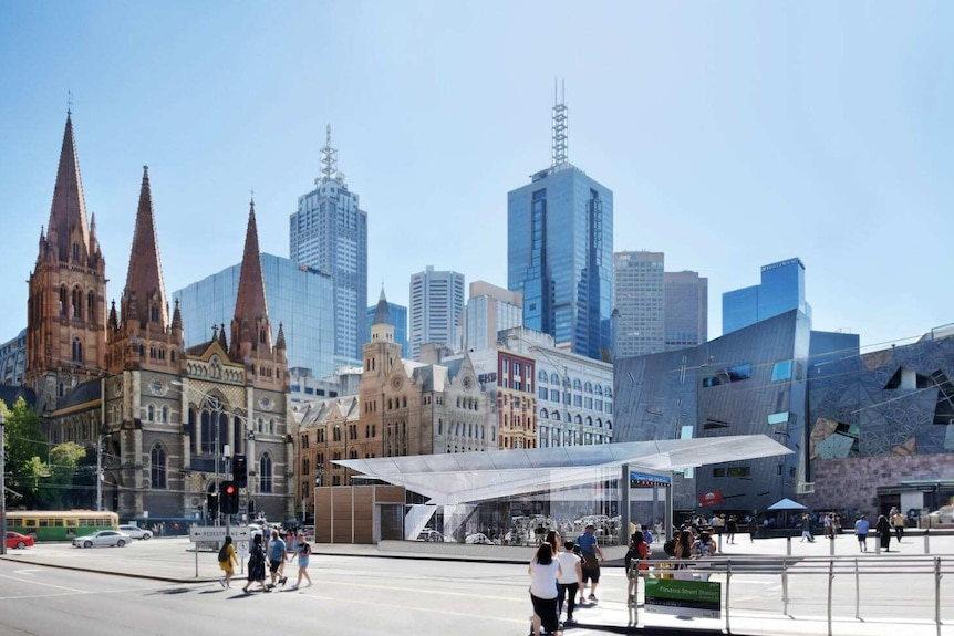 Concept image of the entrance to Federation Square station, with an angular glass ceiling above the underground escalators.