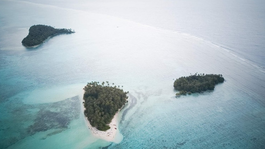 An aerial view of the Carteret Islands.