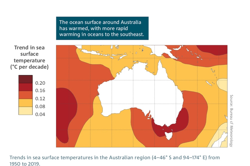 A map showing the temperatures of the seas around Australia.