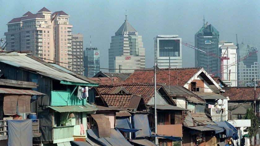 The study's authors say the main problem is that Jakarta is sinking under the weight of out-of-control development [File photo].