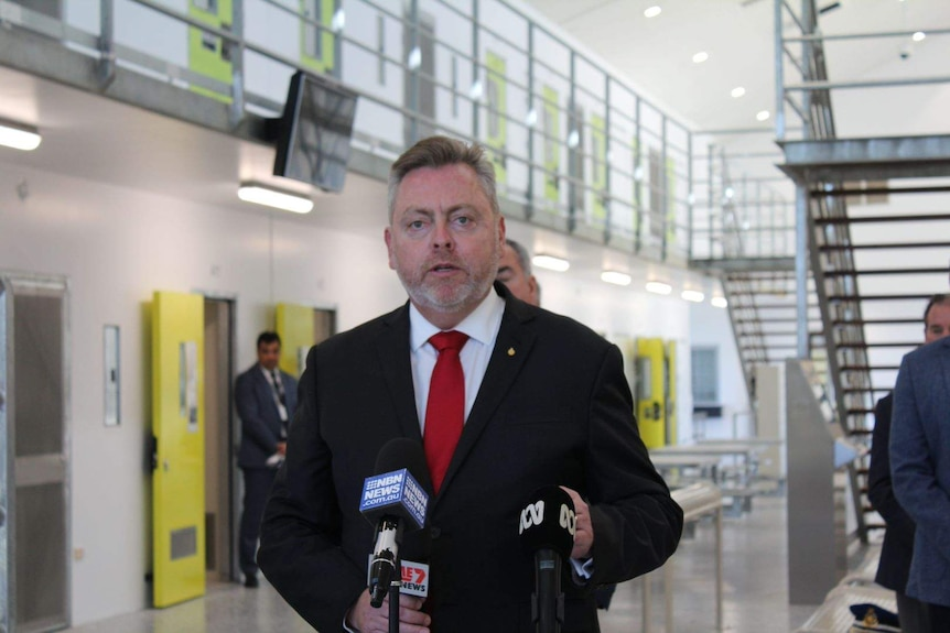 NSW Corrective Services Minister Anthony Roberts addresses the media  at the new Clarence Corrections Centre