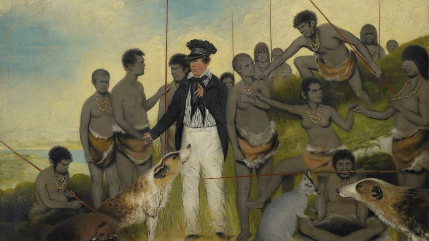 The Conciliation 1840 by Benjamin Duterrau shows George Augustus Robinson with a group of Tasmanian Aboriginal people