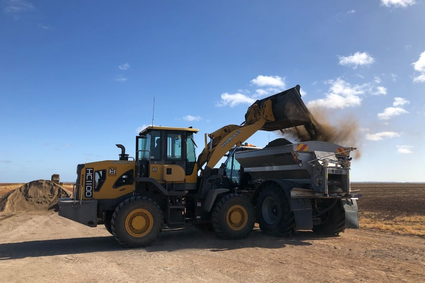 A yellow farm machine loads a brown, powdery material into a spreader.