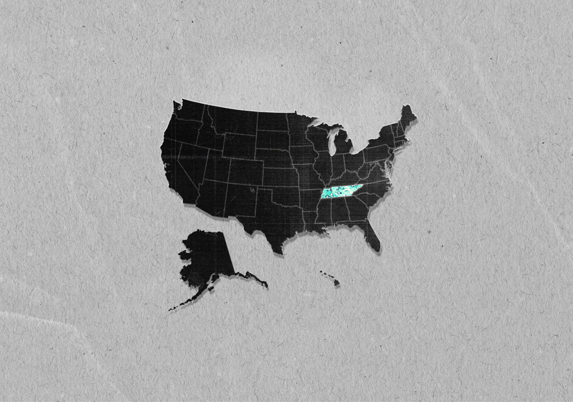 The state of Tennessee is filled in bright blue on black vector US map on grey paper background.
