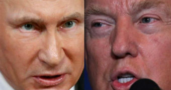 A composite image shows close-ups of the faces of Vladimir Putin and Donald Trump.