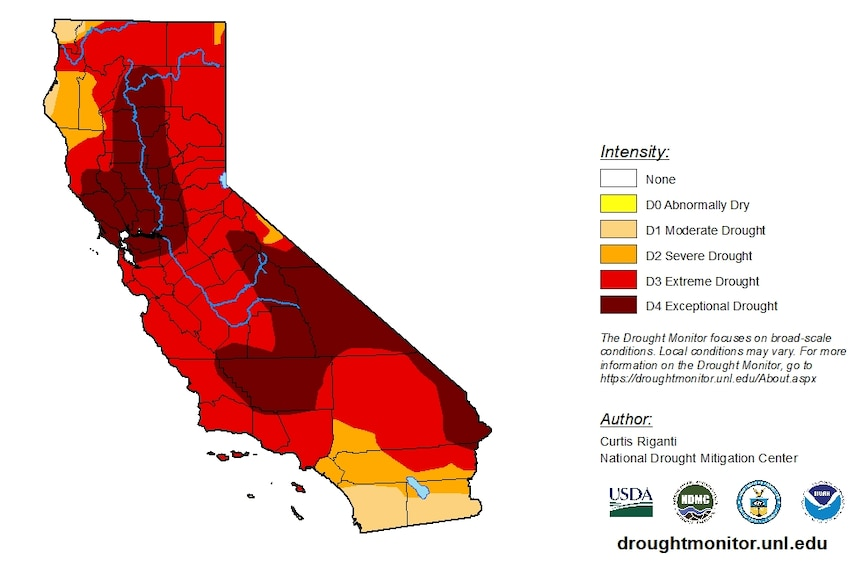 A map showing a third of California in exceptional drought.