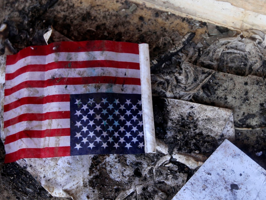 Charred US flag at consulate in Libya