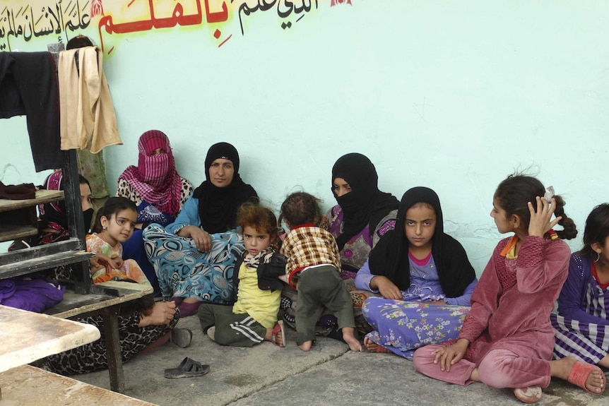 Refugees at school in city of Ramadi