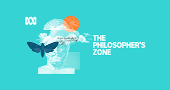 Logo for The Philosopher's Zone, which shows an ancient Greek statue, clouds and a butterfly.