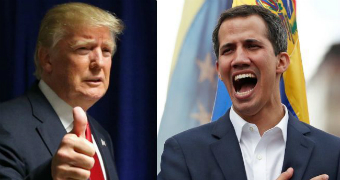 Donald Trump, left, gives thumbs up as he looks away from camera. Juan Guaido, right, has his hand on his heart mid-speech.