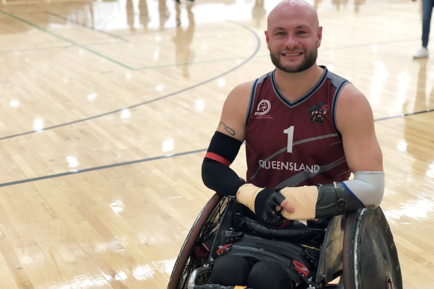 Wheelchair rugby player in Queensland jersey